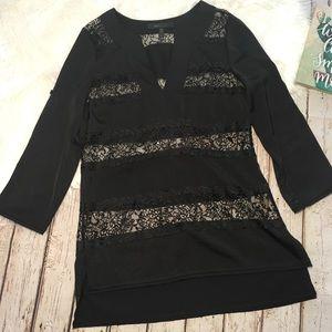 BCBG Maxazria Lace striped blouse size XS